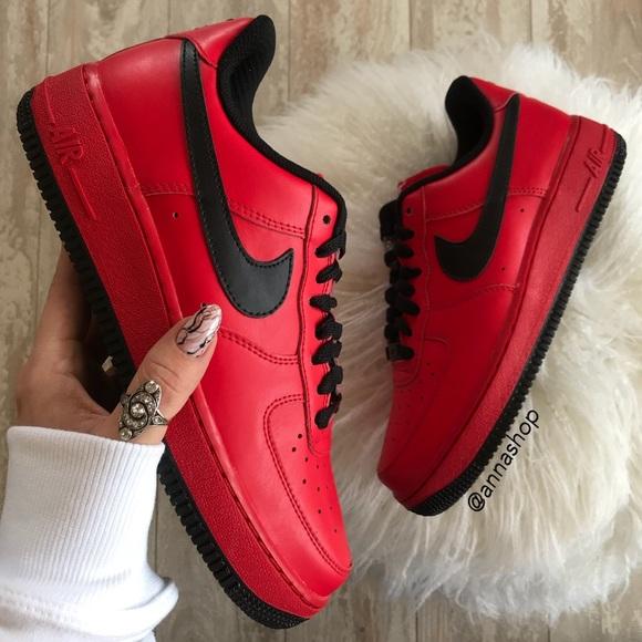 Nike Shoes Nwt Id Air Force 1 Custom Red On Black Poshmark